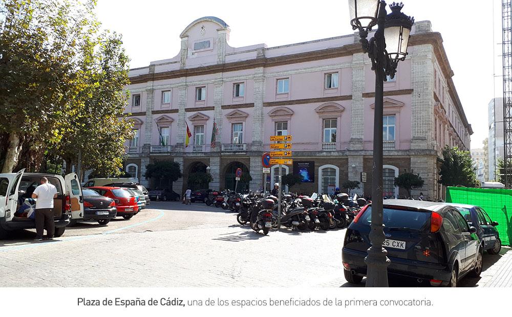 Plaza de España de Cádiz, una de los espacios beneficiados de la primera convocatoria.