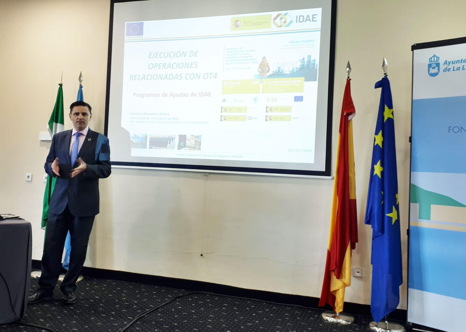 Intervención de Francisco Monedero, Jefe de Verificación del IDAE, en la Jornada de Capacitación Técnica en EDUSIs de La Línea de la Concepción