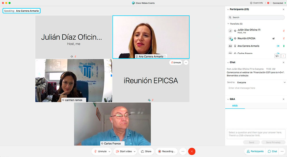 """Presentación del WEBINAR: """"Financiación CDTI para la I+D+i"""", a cargo de Ana Carrera, Diputada del Área de Empleo y Vicepresidenta del IEDT de la Diputación de Cádiz"""