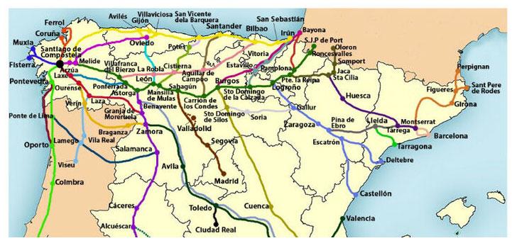 Mapa de rutas Red Transfronteriza de Caminos Jacobeos del Oeste Peninsular