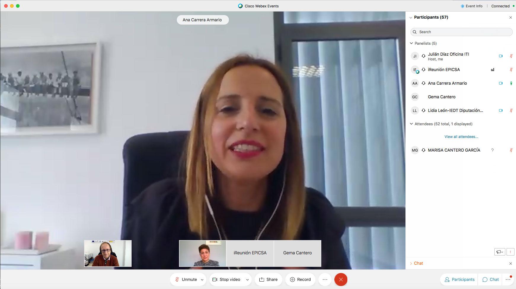 Ana Carrera inaugura y da la bienvenida al WEBINAR: «Programas de Ayudas para Mejora de la Eficiencia Energética en Andalucía»