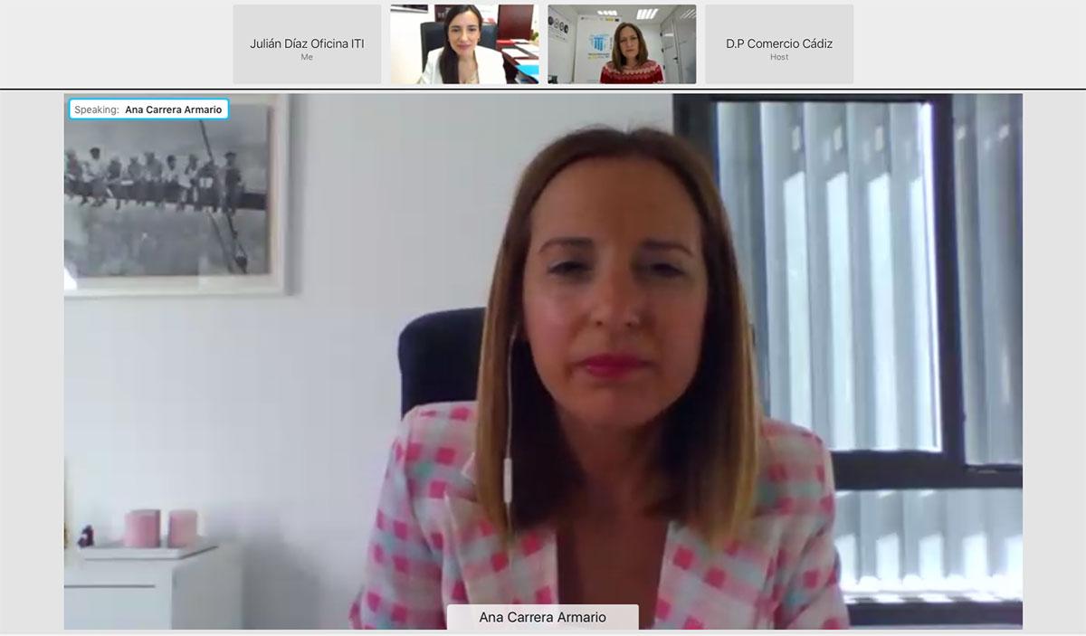 """Intervención de Ana Carrera (Diputada Área de Empleo). Jornada Online """"Productos y Servicios del ICEX para la Internacionalización de Empresas Gaditanas"""""""
