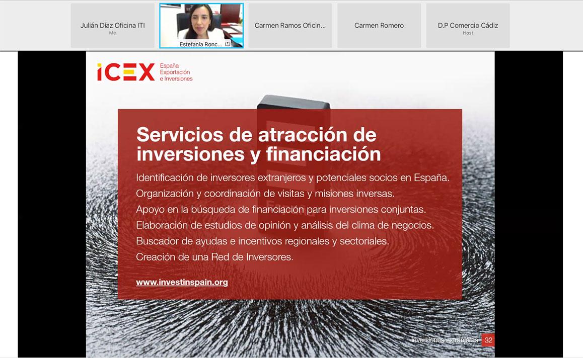 """Intervención de Estefania Roncero (Directora Provincial de Comercio ICEX Cádiz). Jornada Online """"Productos y Servicios del ICEX para la Internacionalización de Empresas Gaditanas"""""""